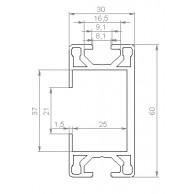 Алюминиевый конструкционный профиль сечением 30x60 тип 2 без покрытия