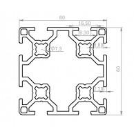 Алюминиевый конструкционный профиль сечением 60x60 без покрытия