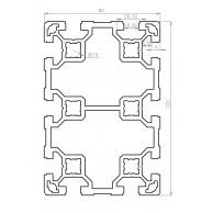 Алюминиевый конструкционный профиль сечением 80х120 без покрытия