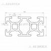 Алюминиевый конструкционный профиль сечением 20x40 без покрытия