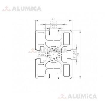 Алюминиевый конструкционный профиль сечением 45х60 без покрытия