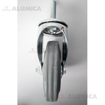 Ролик 125 мм поворот. М12 серый роликоподшипник